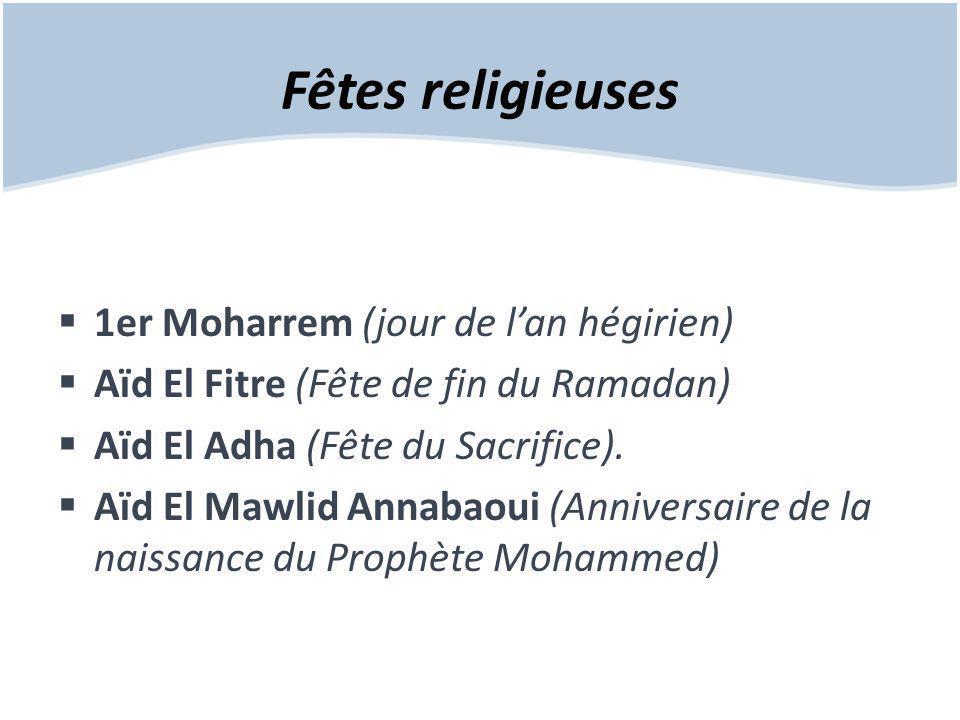 Fêtes religieuses 1er Moharrem (jour de l'an hégirien)