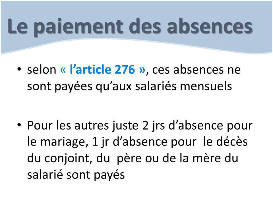 Le paiement des absences