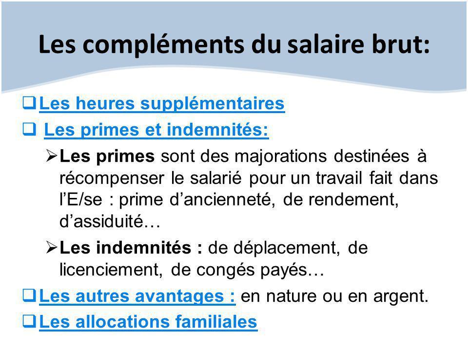 Les compléments du salaire brut: