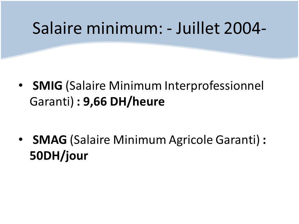 Salaire minimum: - Juillet 2004-