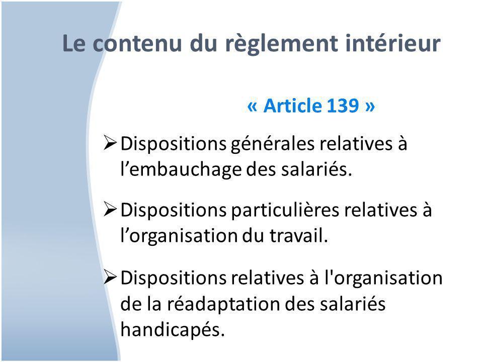 Le contenu du règlement intérieur