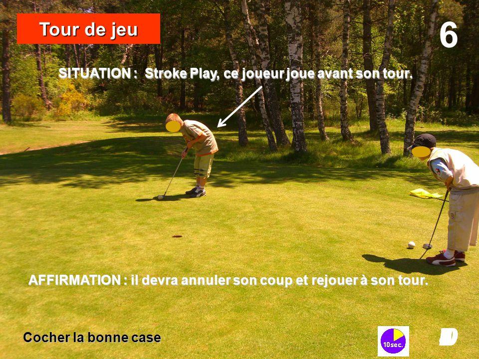 6 Tour de jeu. SITUATION : Stroke Play, ce joueur joue avant son tour. AFFIRMATION : il devra annuler son coup et rejouer à son tour.