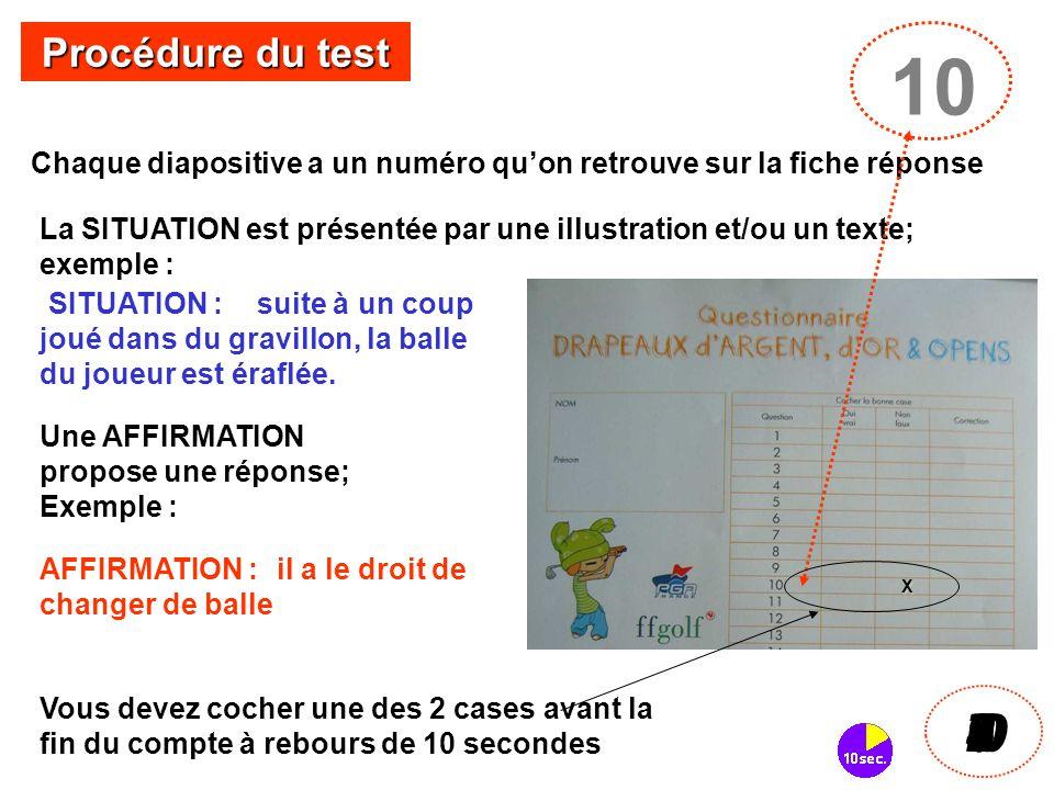 Procédure du test 10. Chaque diapositive a un numéro qu'on retrouve sur la fiche réponse.