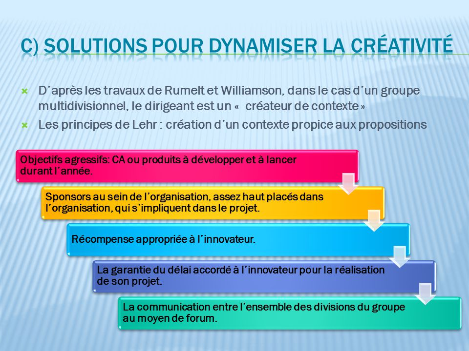 c) Solutions pour dynamiser la créativité