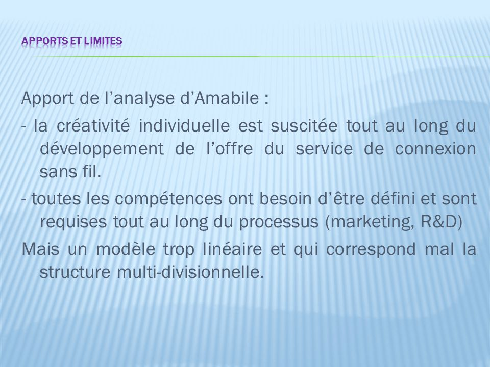 Apport de l'analyse d'Amabile :