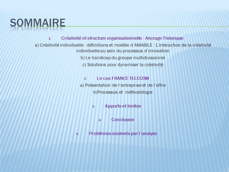 Sommaire Créativité et structure organisationnelle : Ancrage Théorique.
