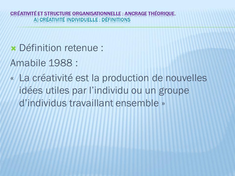 Définition retenue : Amabile 1988 :