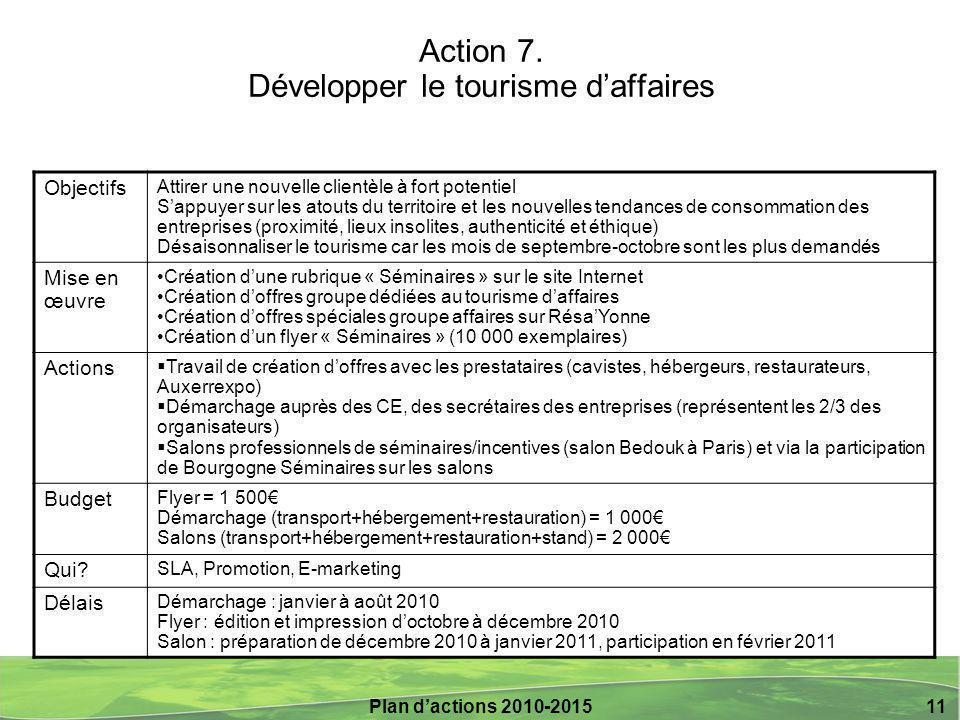 Action 7. Développer le tourisme d'affaires