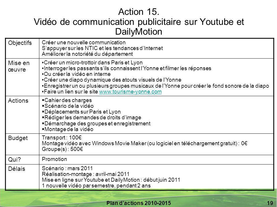 Action 15. Vidéo de communication publicitaire sur Youtube et DailyMotion