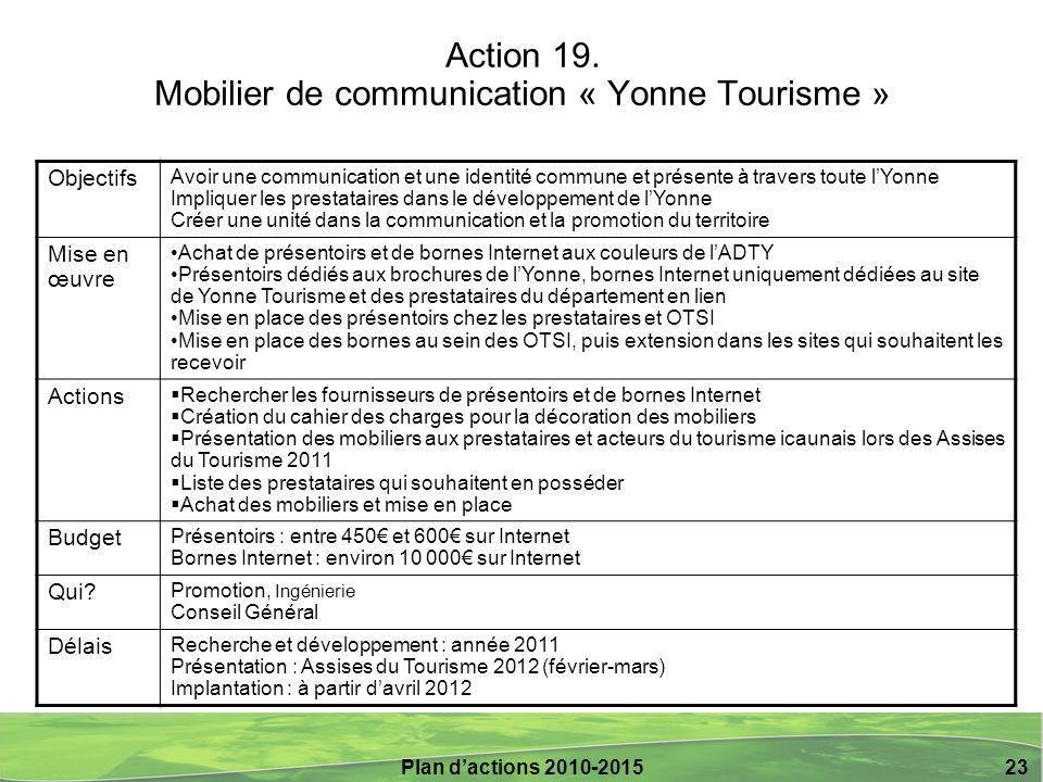 Action 19. Mobilier de communication « Yonne Tourisme »