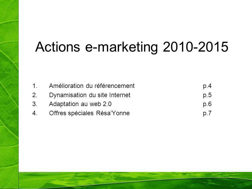 Actions e-marketing 2010-2015 Amélioration du référencement p.4