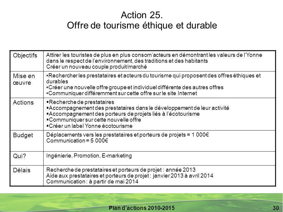 Action 25. Offre de tourisme éthique et durable