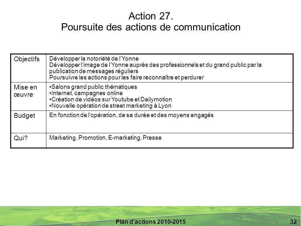 Action 27. Poursuite des actions de communication