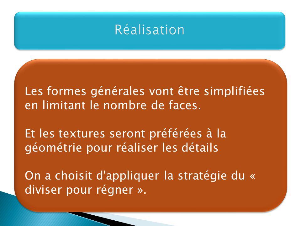 Réalisation Les formes générales vont être simplifiées en limitant le nombre de faces.