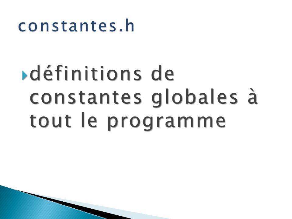 définitions de constantes globales à tout le programme