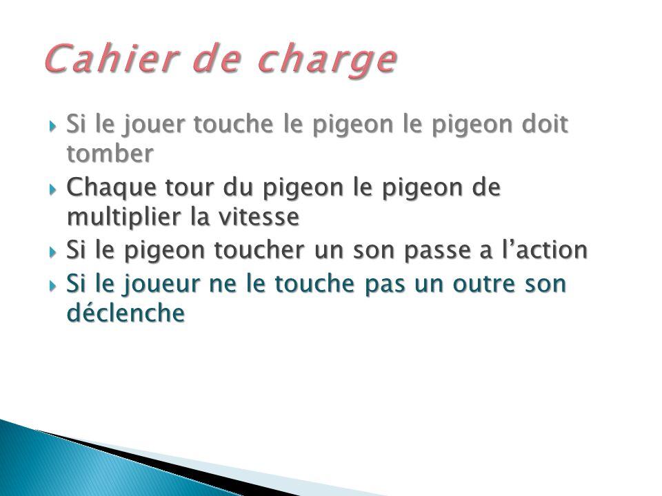 Cahier de charge Si le jouer touche le pigeon le pigeon doit tomber