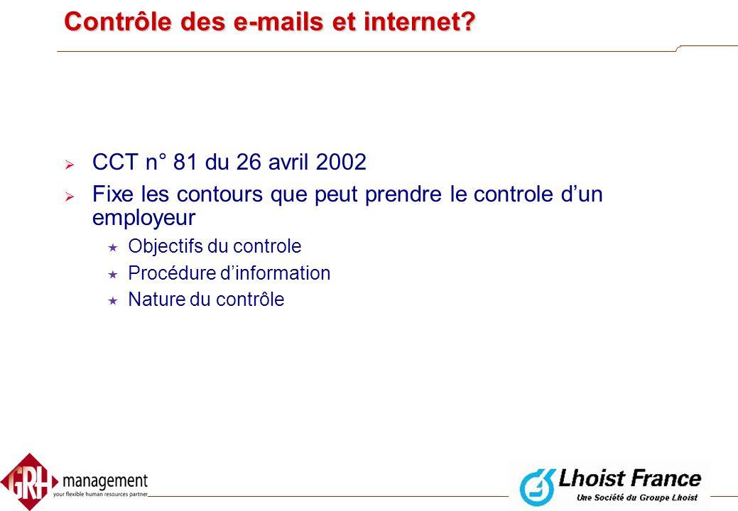 Contrôle des e-mails et internet