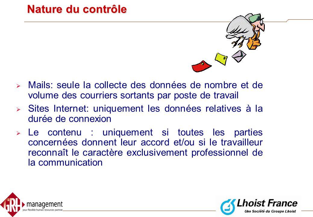 Nature du contrôle Mails: seule la collecte des données de nombre et de volume des courriers sortants par poste de travail.