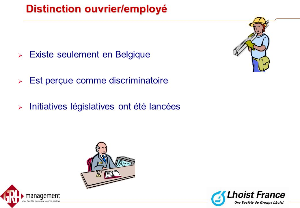 Distinction ouvrier/employé