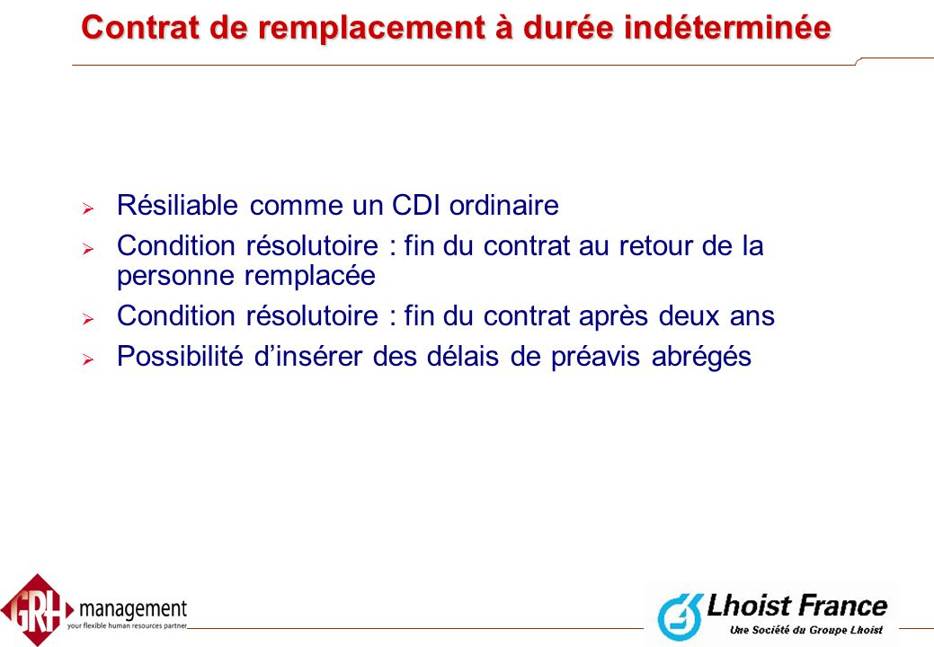 Contrat de remplacement à durée indéterminée