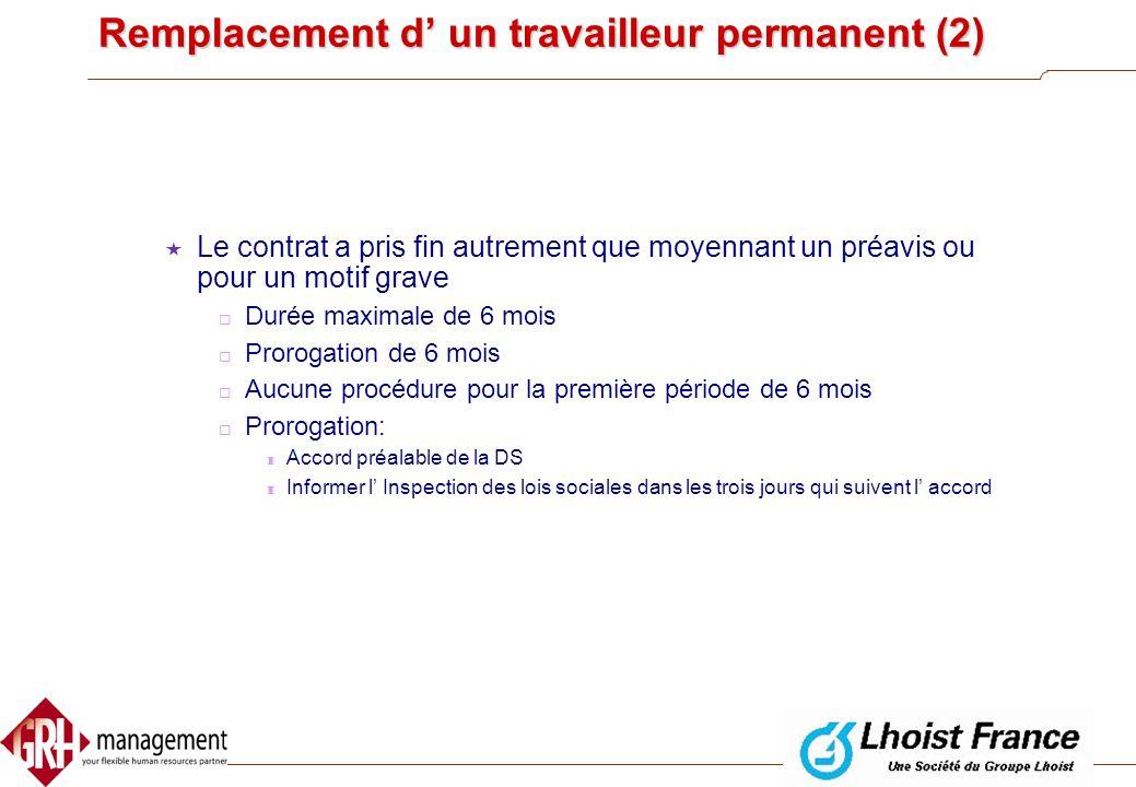 Remplacement d' un travailleur permanent (2)