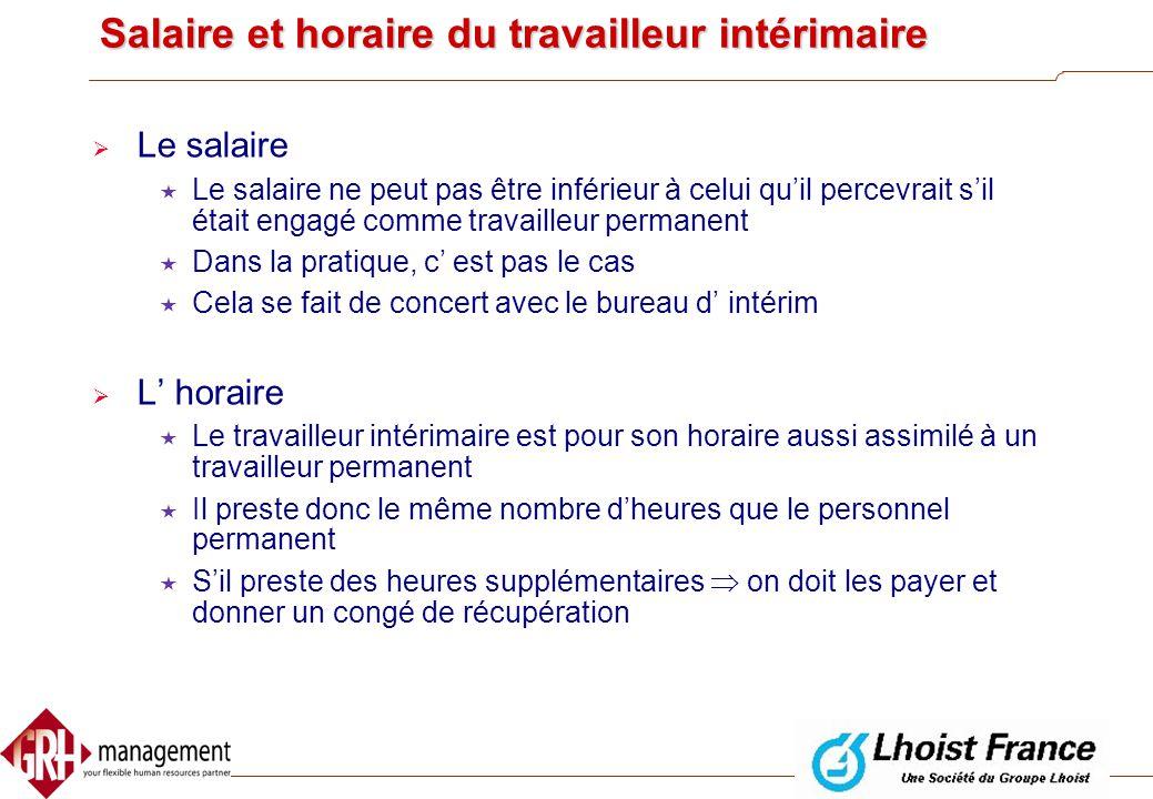 Salaire et horaire du travailleur intérimaire