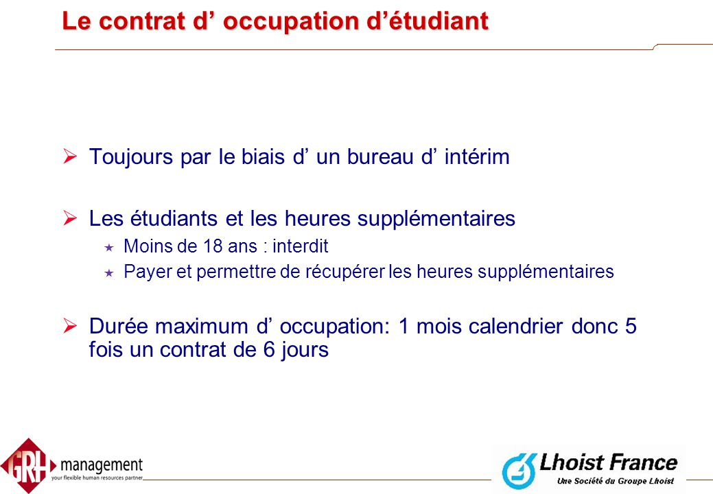Le contrat d' occupation d'étudiant