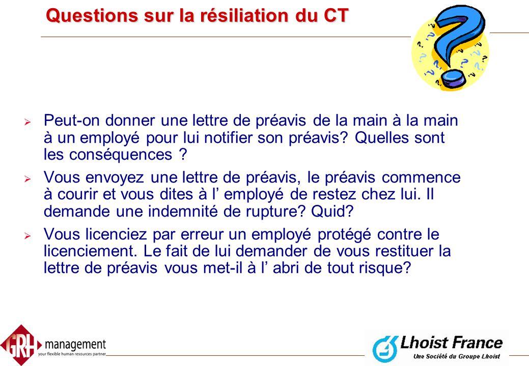 Questions sur la résiliation du CT