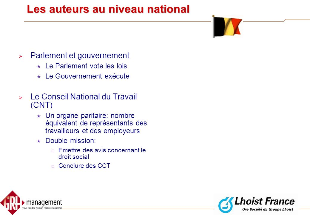 Les auteurs au niveau national