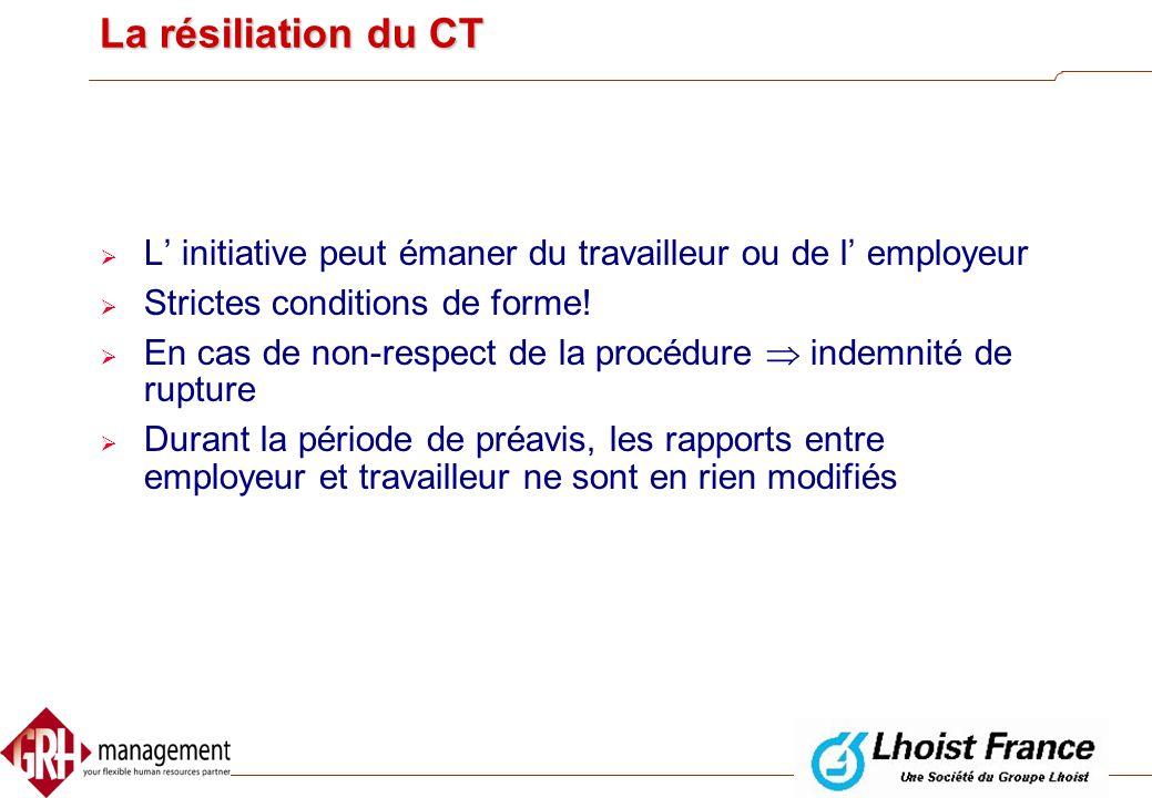 La résiliation du CT L' initiative peut émaner du travailleur ou de l' employeur. Strictes conditions de forme!