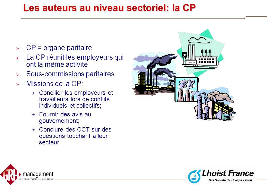 Les auteurs au niveau sectoriel: la CP