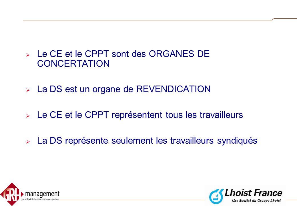 Le CE et le CPPT sont des ORGANES DE CONCERTATION