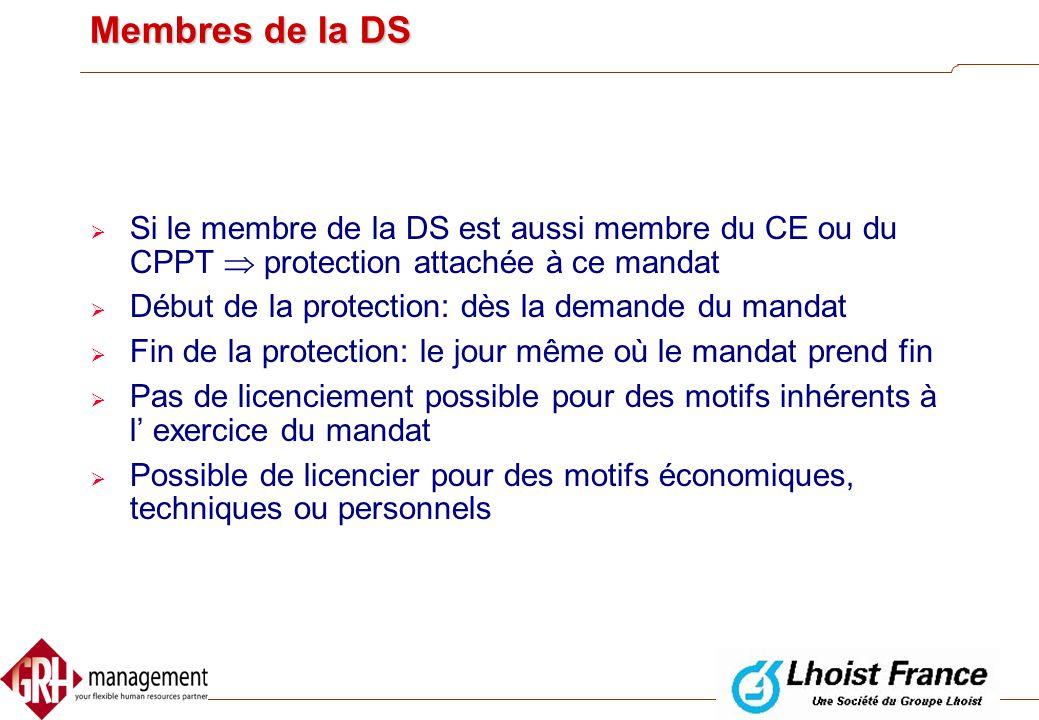 Membres de la DS Si le membre de la DS est aussi membre du CE ou du CPPT  protection attachée à ce mandat.
