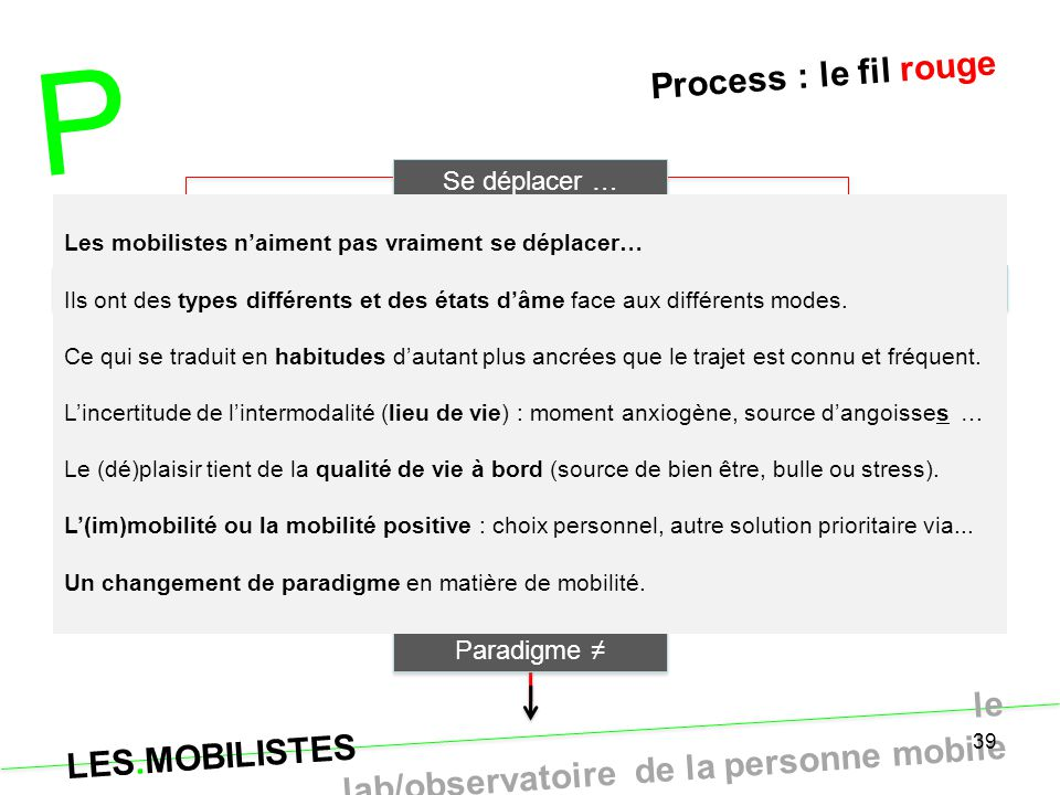 P Process : le fil rouge Se déplacer … Typo axes & solutions