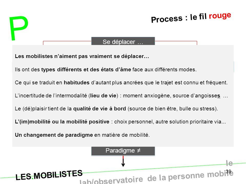 P Process : le fil rouge Se déplacer … Typo axes & solutions