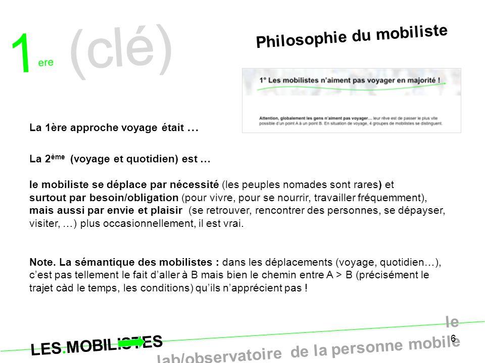 1ere (clé) Philosophie du mobiliste La 1ère approche voyage était …