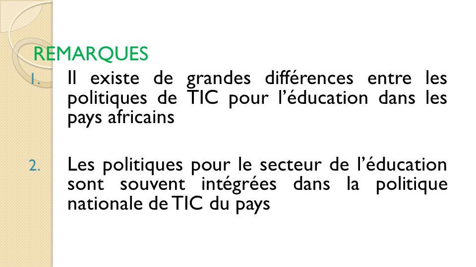 REMARQUES Il existe de grandes différences entre les politiques de TIC pour l'éducation dans les pays africains.