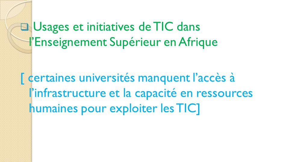 Usages et initiatives de TIC dans l'Enseignement Supérieur en Afrique