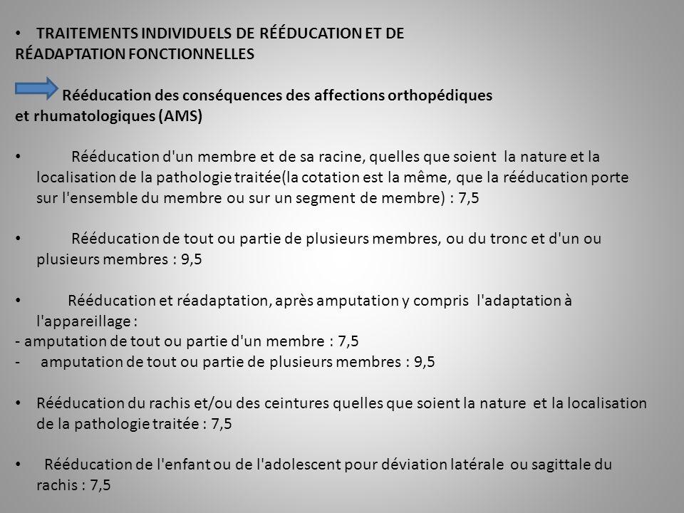 TRAITEMENTS INDIVIDUELS DE RÉÉDUCATION ET DE