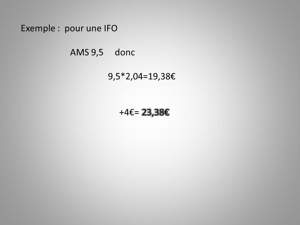 Exemple : pour une IFO AMS 9,5 donc 9,5*2,04=19,38€ +4€= 23,38€