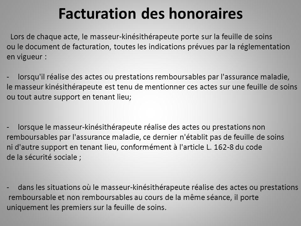 Facturation des honoraires