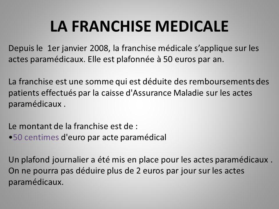 LA FRANCHISE MEDICALE Depuis le 1er janvier 2008, la franchise médicale s'applique sur les actes paramédicaux. Elle est plafonnée à 50 euros par an.