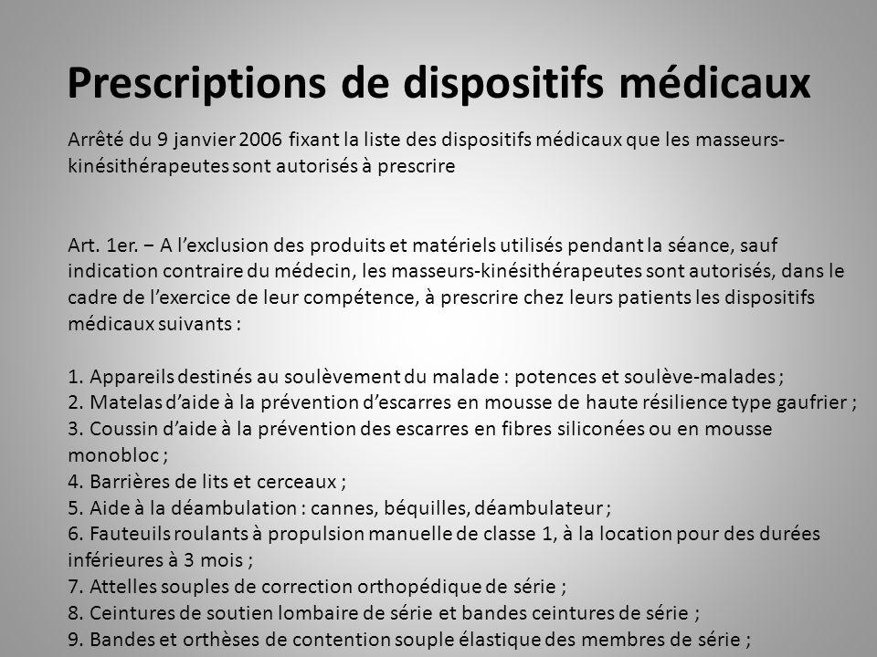 Prescriptions de dispositifs médicaux