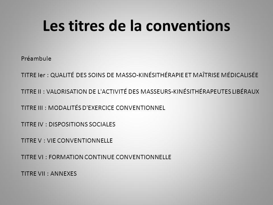 Les titres de la conventions
