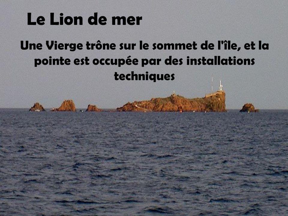 Le Lion de mer Une Vierge trône sur le sommet de l île, et la pointe est occupée par des installations techniques.