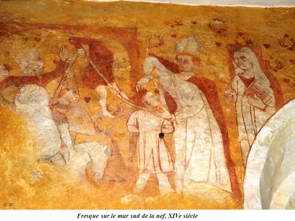 Fresque sur le mur sud de la nef, XIVe siècle