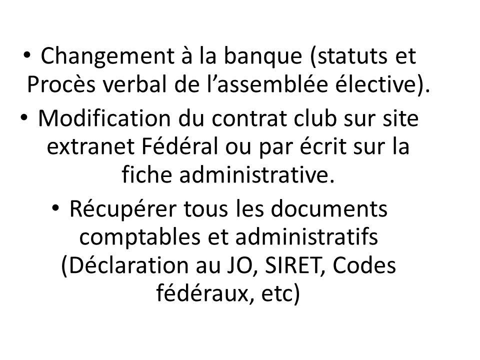 Changement à la banque (statuts et Procès verbal de l'assemblée élective).