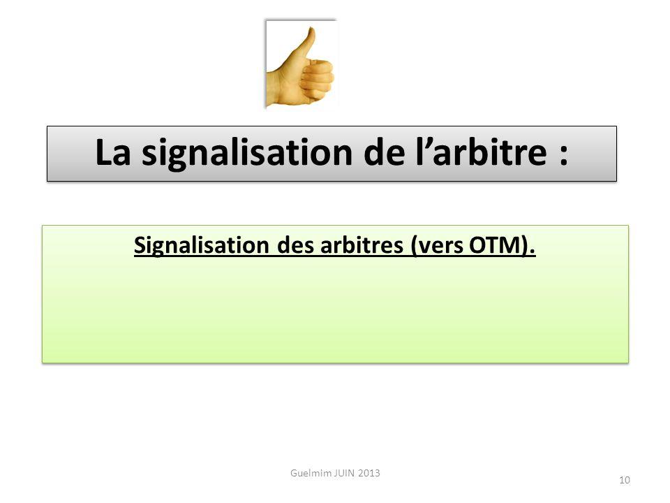 La signalisation de l'arbitre : Signalisation des arbitres (vers OTM).