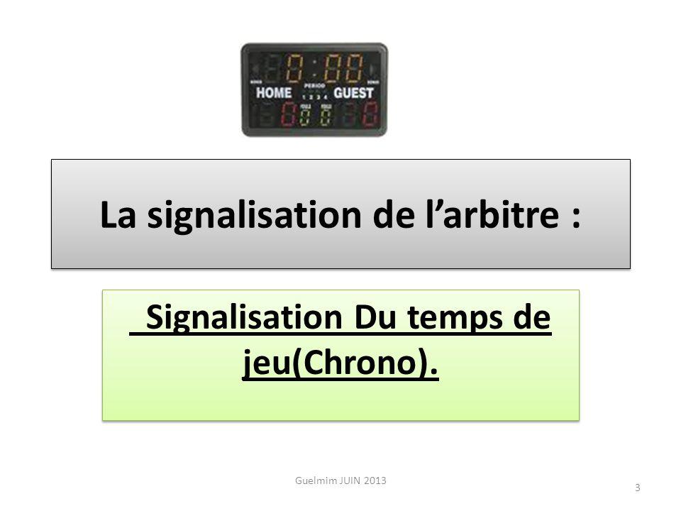 La signalisation de l'arbitre : Signalisation Du temps de jeu(Chrono).