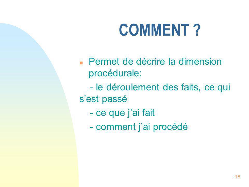 COMMENT Permet de décrire la dimension procédurale: